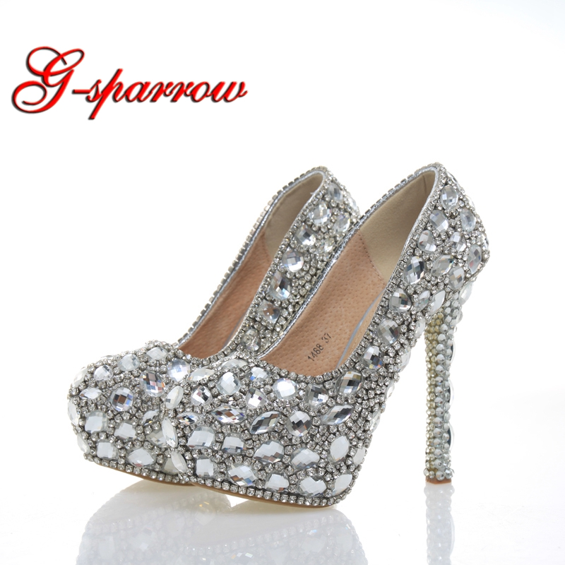 2018 Sapato Feminino Crystal Stiletto Heel All Match Party Prom Shoes  Wedding Bride Platform Heels Luxury 0fda44d52fa3