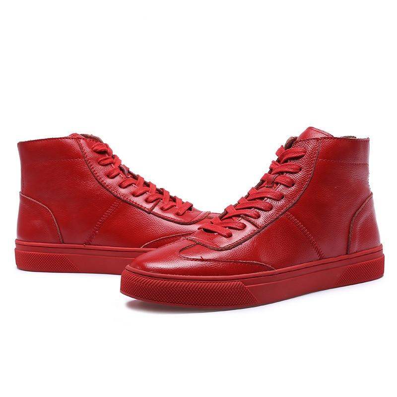 Hombres Top 8 1 Invierno Aumento Cuero 7 5 2 Zapatos 6 Coreana 10 Genuino Alto Del 2018 9 De Ocasionales 4 Hombre Los Botas Nuevo Versión Blancos 3 5aqzUx4