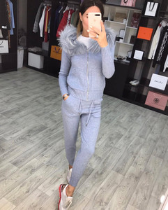 Image 3 - New 2020 Autumn Winter Women Knitted Tracksuit Fur Collar Zipper Hooded Coats+Elastic Casual Pants 2 Pieces Set Women Knit Suit