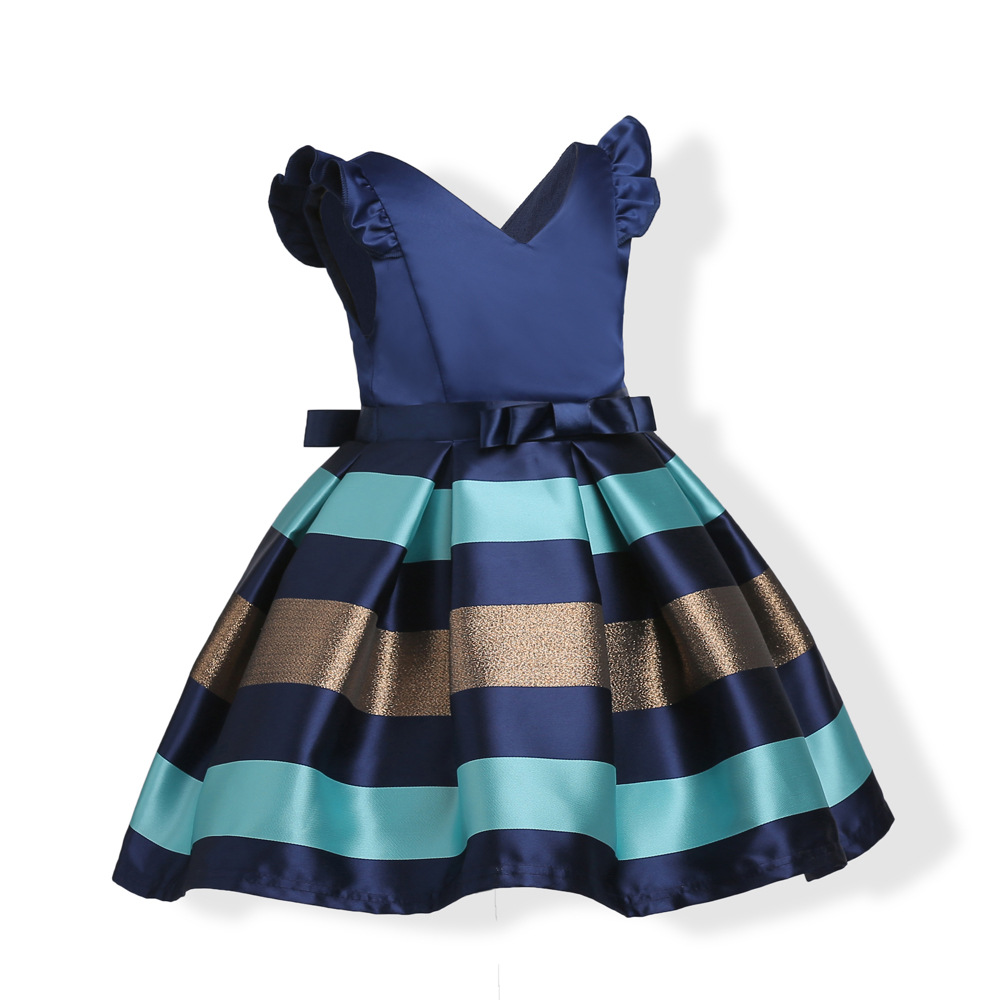 Baby Girls Striped Dress For Girls Formal Wedding Party ...
