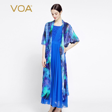 VOA blue short sleeved silk sunscreen shirt long thin cardigan summer B7028 all-match Air conditioner shirt  B7028