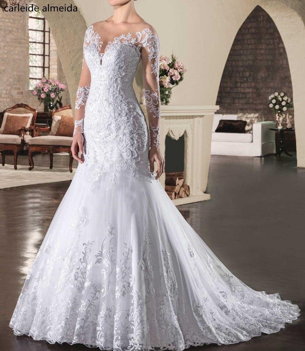 Vestido De Noiva Long Sleeves Mermaid Wedding Dresses Lace Appliques Bride Dress Chapel Train Abiti Da Sposa 2018 Wedding Gowns