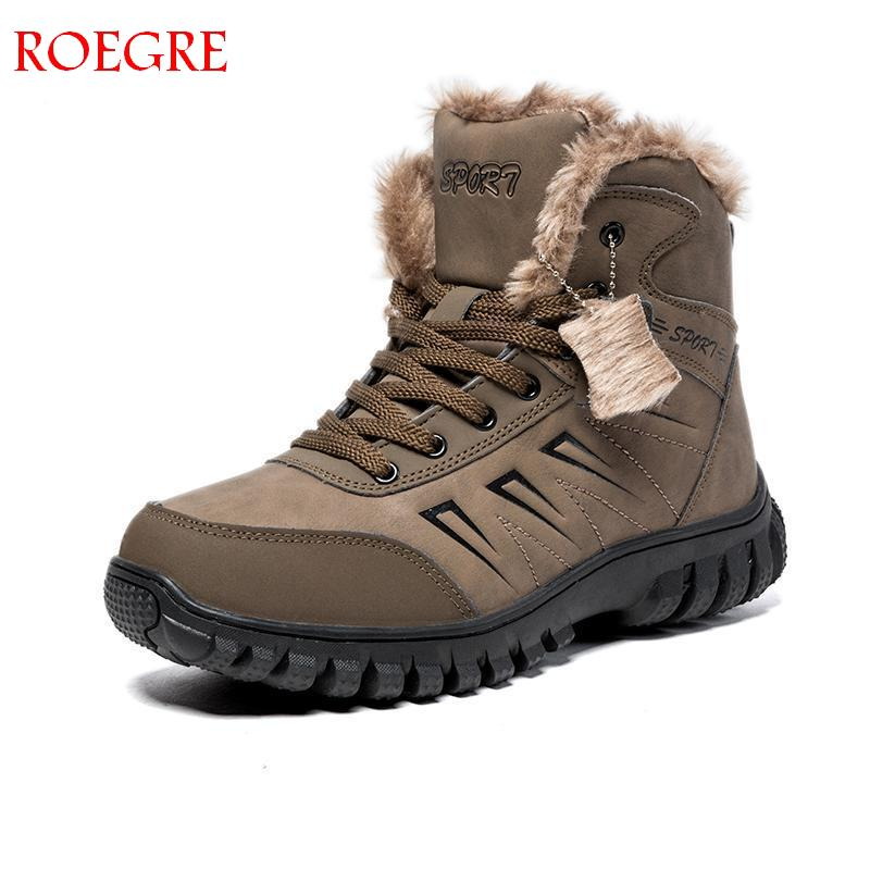 New Winter Snow Boots Man Super Warm Size 39~48 Genuine Natural Leather Handmade Men Shoes Winter Fashion Rubber Ankle Shoes