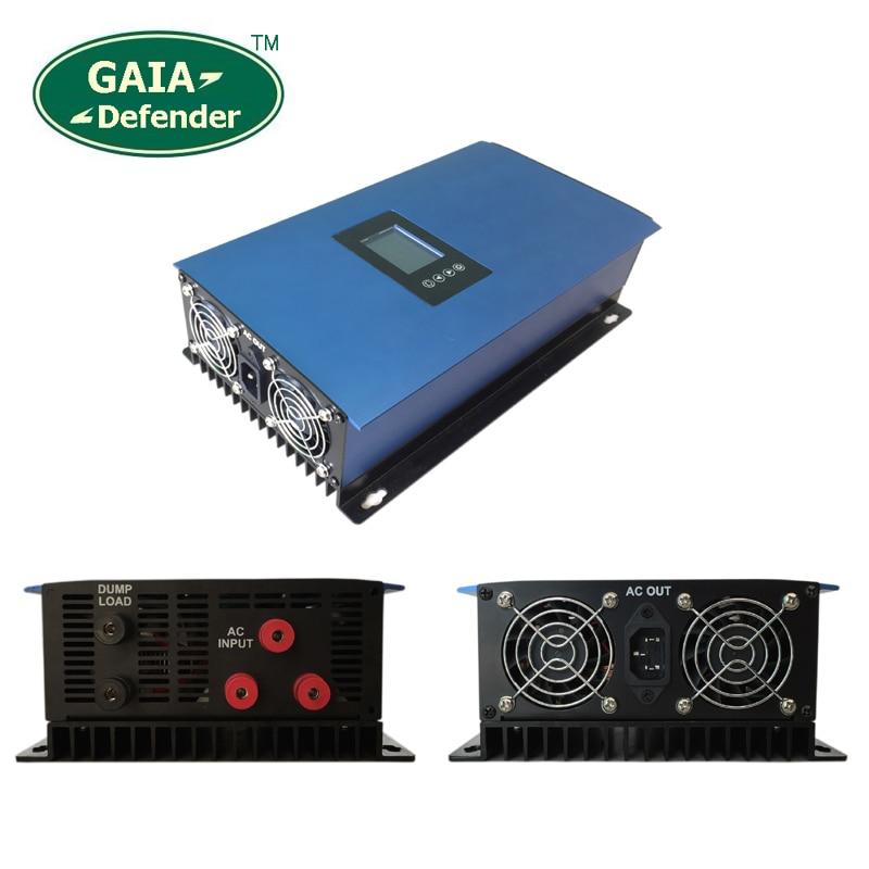 1000W MPPT Wind Grid Tie Inverter with Dump Load Controller / Resistor 22V-60V / 45V-90V for 3 Phase AC wind turbine/LCD display цена