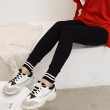 [aosheng] New Autumn Winter 2018 Fashion Black High Waist Elastic Ankle-length Knitted Legging Women Y030