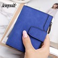 AEQUEEN Leather Wallet Women Short Purses Womens Bifold Wallets With Card Holders Coin Purses Vintage Matte Clutches Organizers
