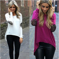 2016 Spring Patchwork T shirt Long Sleeve Casual Tops Plus Size Irregular Pullover Shirt Women Loose Knitted Tops S M L XL