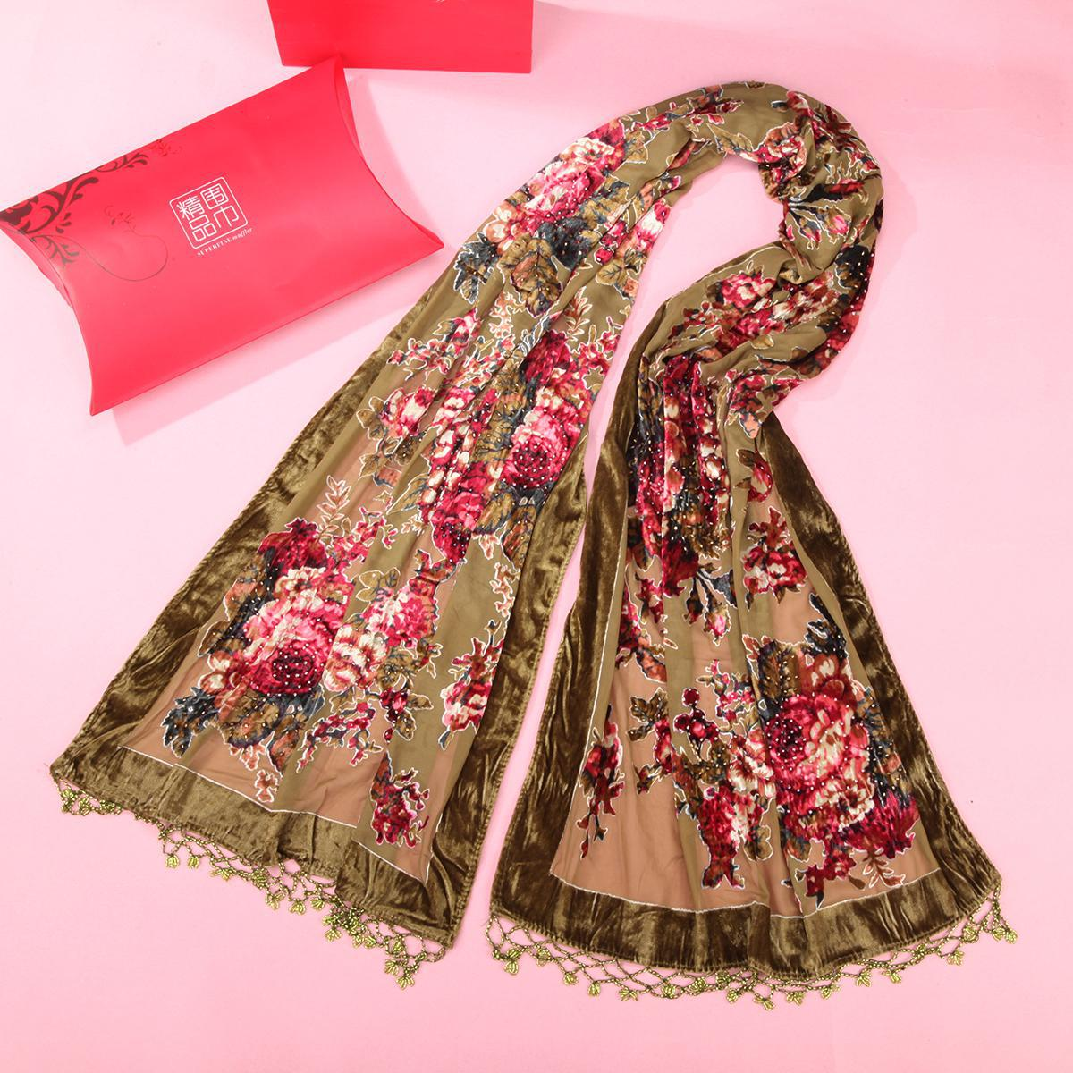 2019 New Vintage Flower   Scarves     Wrap   Women's Velvet Pashmina Printed Shawls Cape Handmade Beaded Muffler Hijab Kerchief Shawl