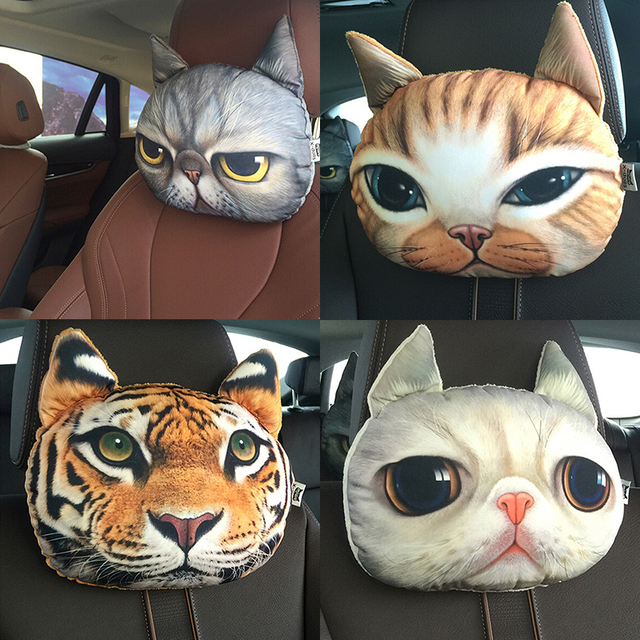 Lovely 3d Cat Car Headrest Head Auto Headrest Inside Seat