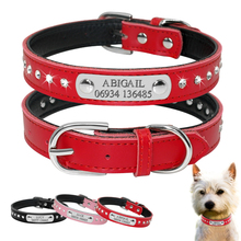 Personalized Dog Collar Engraved Leather Dogs Puppy Customized Cat For Small Chihuahua Yorkies Pink