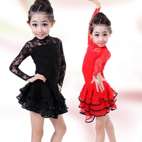 20pcs Lot Free Shipping Red Black Lace Kids Ballroom Costumes Clothes Long Sleeves Children Salsa Latin