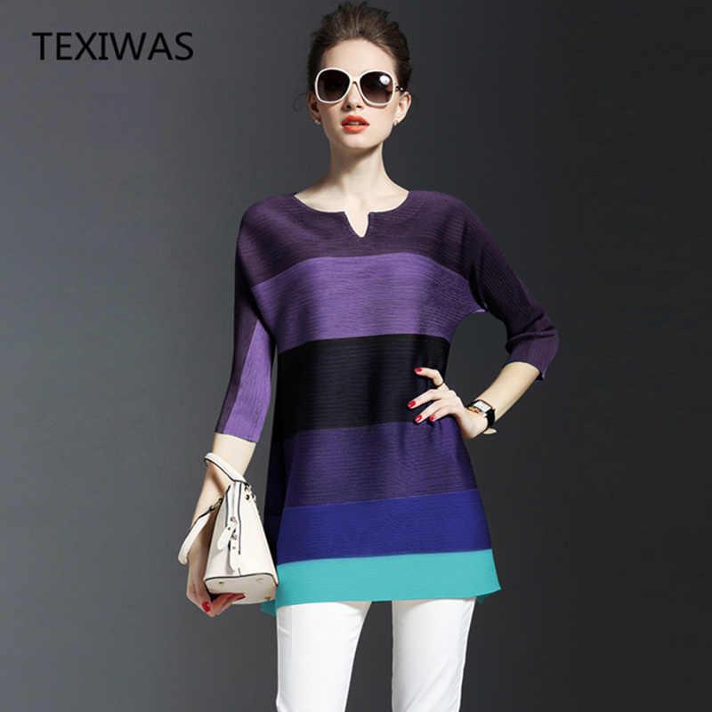 TEXIWAS 2018 Весна Лето Новое плиссированное платье с О-образным вырезом и длинными рукавами женская модная свободная полосатая одежда высокого качества