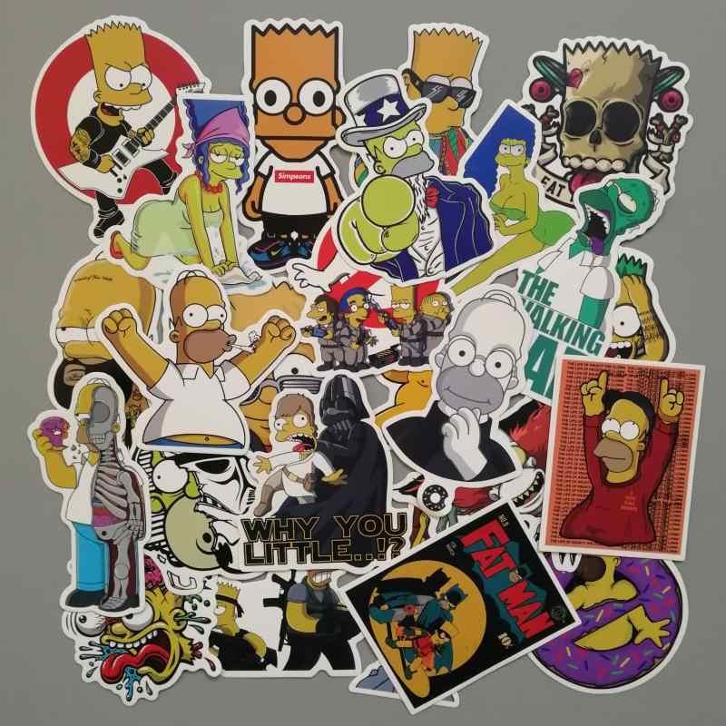 70cc67be2fed9 25pcs/Lot Cartoon Anime Vinyl Stickers Simpsons Street Tide Graffiti Laptop  Sticker Decals Car Styling Adesivi Sticker Pegatinas