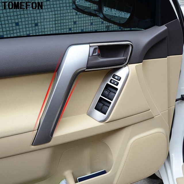Pour Toyota Prado 2014 2015 ABS Mat Bois Peinture Avant Accoudoir Garniture  La Porte Intérieure Poignée