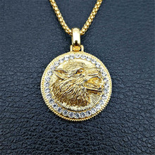 Hip Hop Iced Out Wolf Head Pendant Necklace For Men Gold Color Stainless Steel Rhinestones Necklaces Bling Jewelry Drop Shipping xukim jewelry silver gold color cubic zirconia iced out paw dog cat claw pendant necklace hip hop jewelry