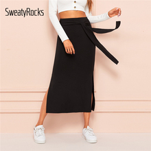 SweatyRocks Tie Waist Split Side Solid Skirt For Women Black Sexy Long Solid Skirts Womens 2019 Summer High Waist Straight Skirt