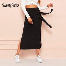65bb2127c4 SweatyRocks Tie Split Side Skirt For Women Black Sexy Long Solid 2019 Summer