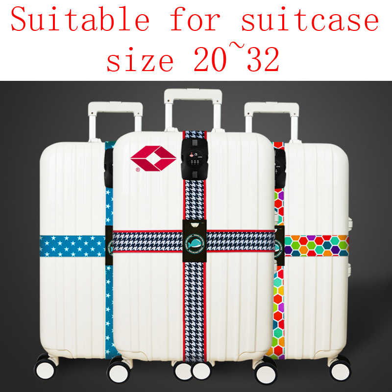 RHXFXTL Luggage Three digits password Cross belt adjustable Suitcase band Safety Bundle Luggage rope Straps travel accessorie