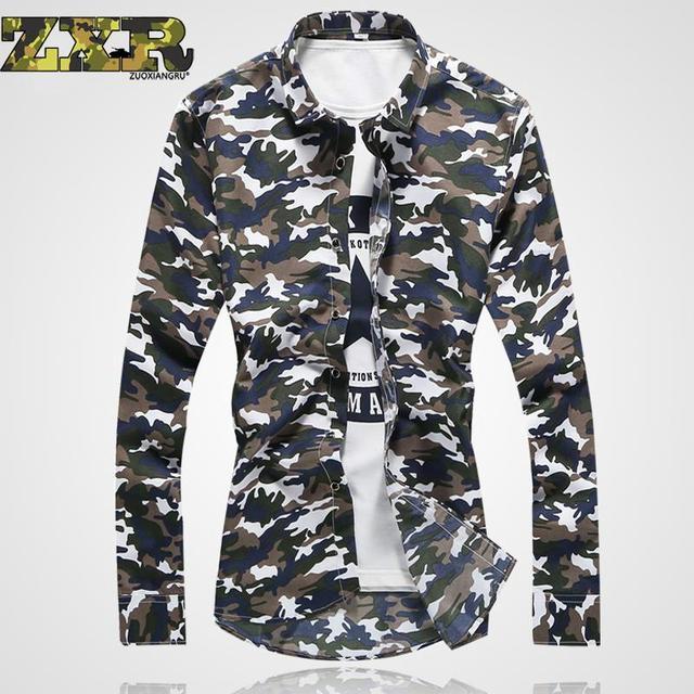 Man Casual Camouflage Shirt Men Army Tactical Combat Casual Shirt Military  Print Camo Camp Slim Fit Clothing Mens Shirts ba103ccaf1ea