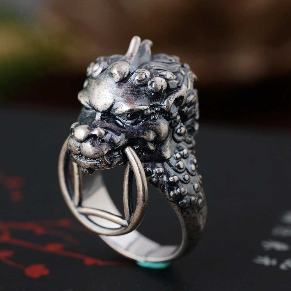 FNJ 925 Silver Dragon Ring New Fashion Real Original S925 Sterling Thai Silver Rings for Women