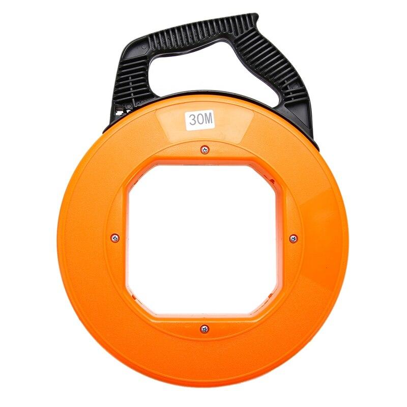 Portable 30 Meter Fiberglass Fish Tape Fishing Tool Reel Puller Conduit Duct Rodder Pulling Cable