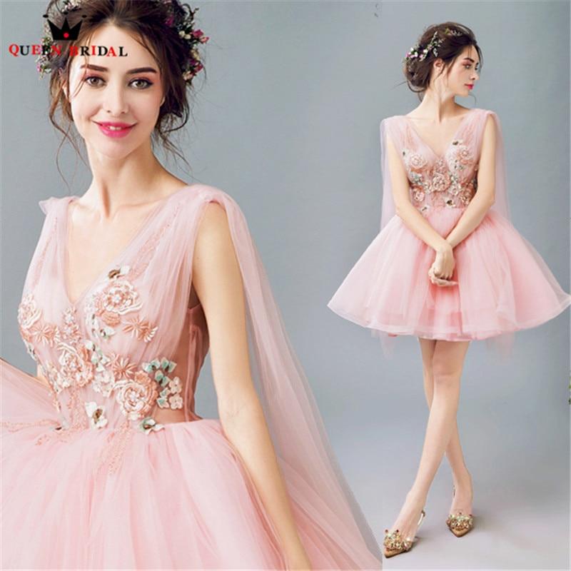 QUEEN BRIDAL Evening Dresses Ball Gown V-neck Lace Beaded Pink Short Prom Party Dress Evening Gown 2018 Vestido De Festa JW28