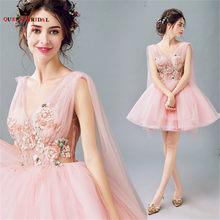 QUEEN BRIDAL Evening Dresses Ball Gown V-neck Lace Beaded Pink Short Prom Party  Dress Evening Gown 2018 Vestido De Festa JW28 fcbda4aba201