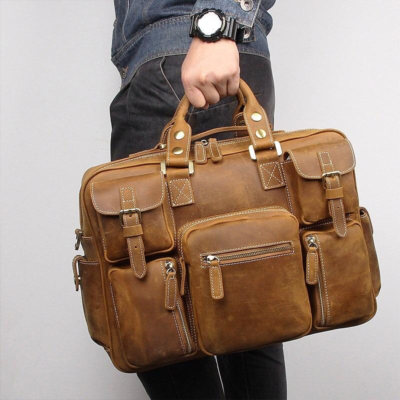Nesitu Big Large Vintage Brown Thick Genuine Crazy Horse Leather Men Briefcase Portfolio Business Travel Messenger Bags M7028