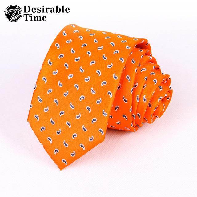 3c7f8e493fcc Men Wedding Silk Tie 2018 Fashion 7cm Men Necktie Designer Orange Paisley  Tie Accessories Corbata Floral Ties for Men A08