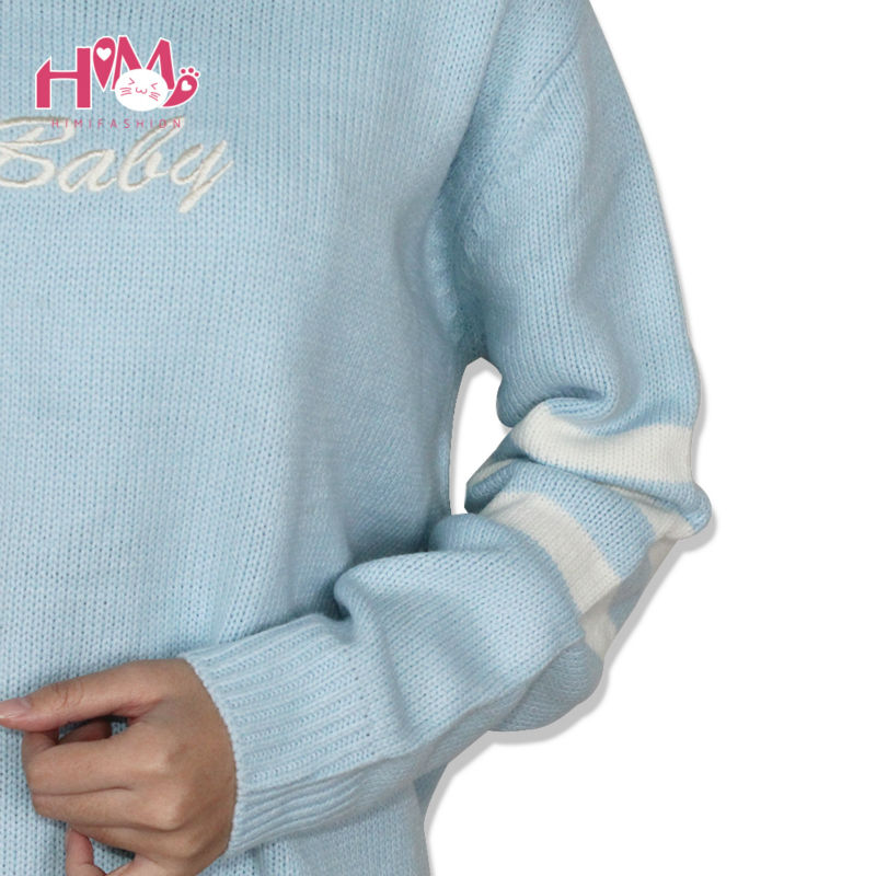 Baby Blue Baby Pink Knitted Sweater Winter Women Shirt Hot Korea Japanese Fashion  8