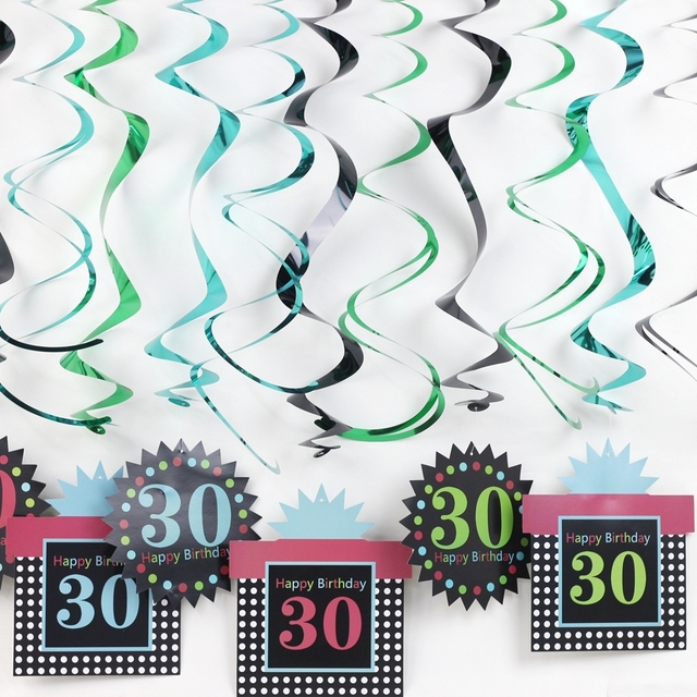 Pack Of 12 For 30th 50th Birthday Hanging Swirl Ceiling Decoration Party Decorations Adult