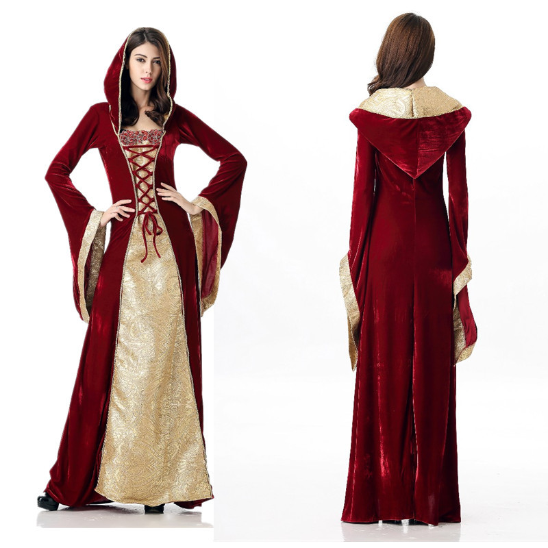 Halloween Costumes European Vintage Court Dresses Luxury Queens Party Costumes Game Uniforms Wine Red Color