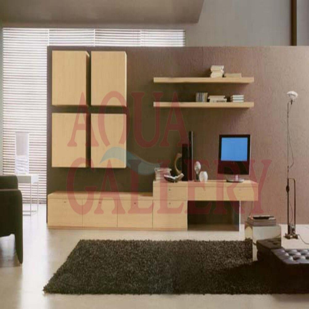 Latest simple style dark khaki melamine board tv cabinet for Latest tv unit designs 2016
