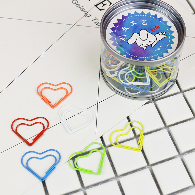 Creative Love Color Paper Clip Heart Bookmark Gift Clips Office Accessories Paper Clips Papel Paper Bookmark Kawaii Stationery