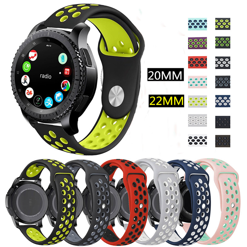 Sport For Samsung Gear S3 S2 Frontier Classic Silicone 22mm 20mm Watch Strap For Samsung Galaxy Watch 46mm 42mm For Amazfit Bip