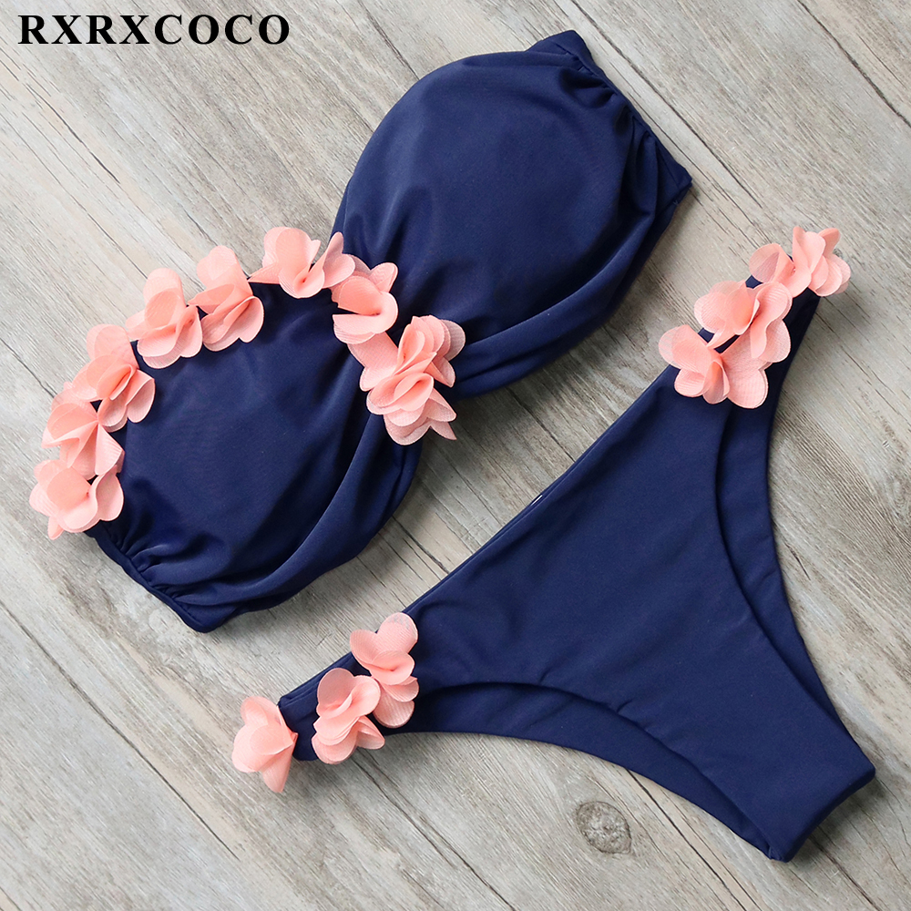 RXRXCOCO Brand Hot Sexy Design 3D Floral Swimwear Women Bikini 2018 Set Bandeau Brazilian Biquini Bathing Suit Swimsuit With Pad rxrxcoco hot swimwear women sexy lace