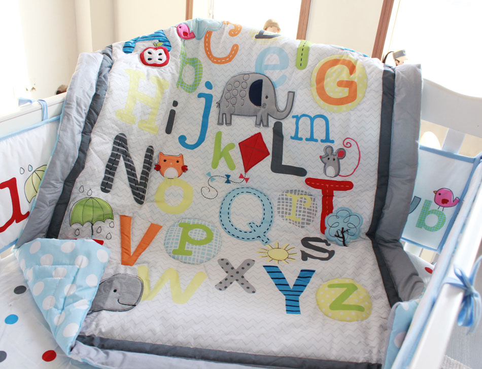 Promotion! 7PCS Baby bedding set English alphabet Baby bumper crib bedding set ,include(bumper+duvet+bed cover+bed skirt) promotion 6pcs baby bedding set cot crib bedding set baby bed baby cot sets include 4bumpers sheet pillow