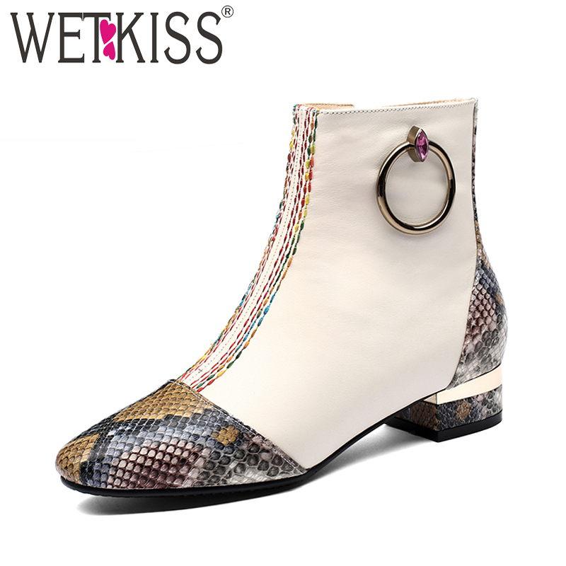 WETKISS Thick Low Heels Women Ankle Boots Zip Square Toe Footwear Print Female Boot Fashion Leather