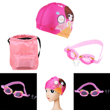 Perfeclan Kids Swimming Gear Set Silicone Crab Goggles + Swim Cap + Backpack Water Sports Swimming Goggles Beach Pool Pack swimming goggles adidas br1136 sports and entertainment