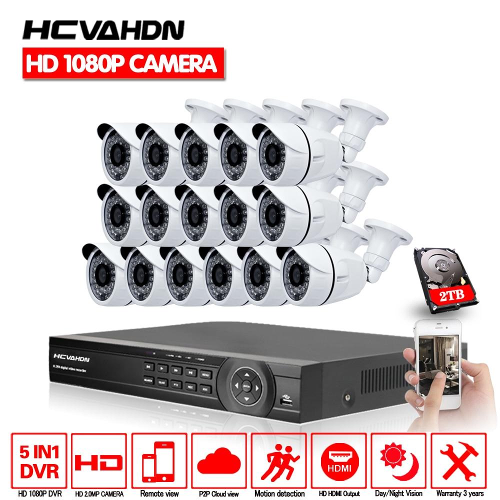 16CH AHD HD CCTV Système 2.0MP CCTV Caméra 1080 p DVR Kit 1080 p HDMI Caméra de Sécurité Système Vue À Distance seguranca em casa