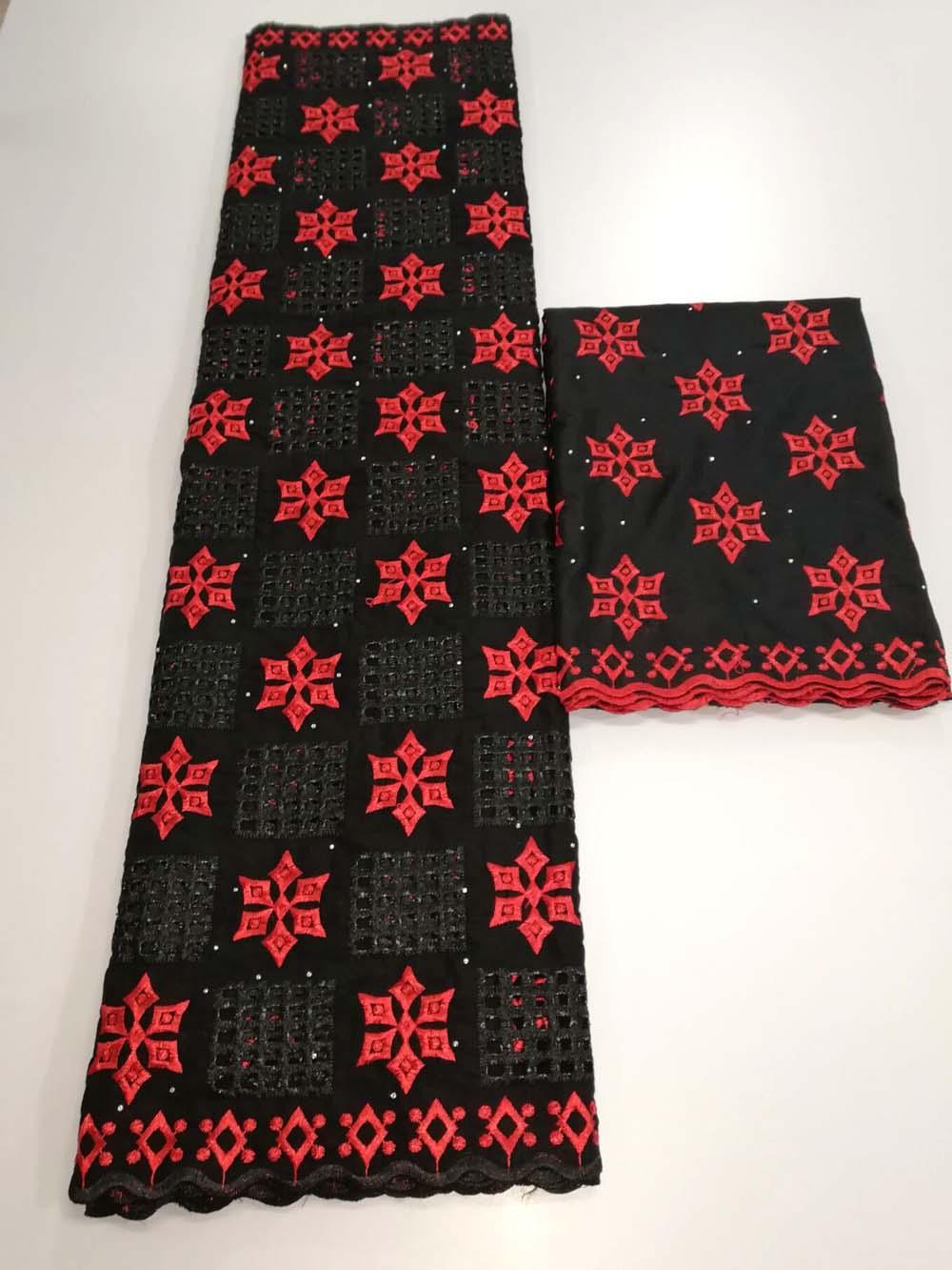 Dernière couleur noire et rouge tissu de dentelle africaine 2019 haute qualité tulle africain dentelle tissu design de luxe avec des pierres complètes