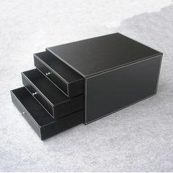 3-layer 3-lade hout lederen bureau set archiefkast opberglade box office organisator document container houder zwart 213A