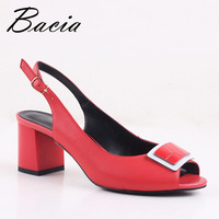 Bacia Sheep Skin Sandals 2017 New Square Pumps Genuine Leather Red Shoes Women Summer Buckle Strap