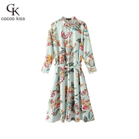 2017 New Autumn Long Shirts Boluses Womens Colorful Green Flower Shahes Botton Gentle Ladies Long Bohemian Style Shirts