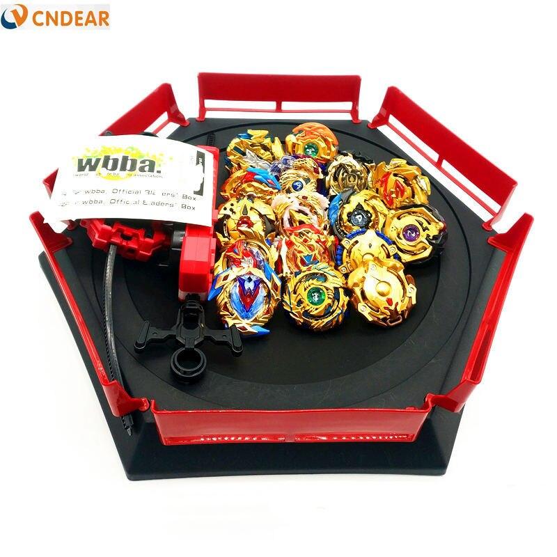 Style doré spin top rafale lame jouet métal Funsion avec poignée lanceur boîte en plastique jouets pour enfants jouets - 2
