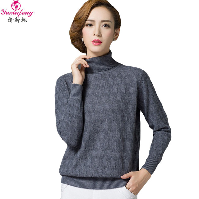 2017 Korean Women Sweaters and Pullovers Long Sleeve Female Knitted Sweater Pink  Solid Warm Cashmere Sweater Woman Large Sizes