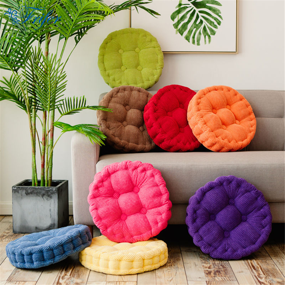 40x40cm Thick Corduroy Elastic Chair Cushions For Kitchen Solid Color Seat Cushion Square Round Floor Hand Wash In From Home Garden