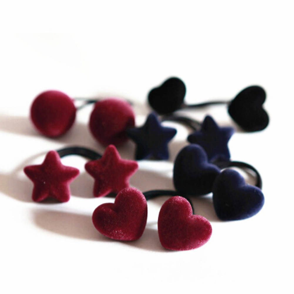 1 pc Velvet Cloth Heart Star Shape Cute Elastic Hair Ropes hair bands rope children hair accessory Headwear Hair Ring Girl Gifts 2015 fashion elastic hair bands for women candy color baby girl kids headbands hair ropes headwear hair accessories 20 colors