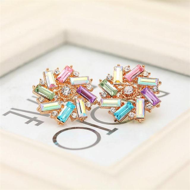 Factory Price 6 Color Cute Crystal Stud Earrings For Women Flower Earrings boucle d'oreilles Earring Fashion jewelry