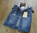 New Arrival Baby Boys Fashion Denim Vest Kids Hooded Denim Waistcoat Child Spring Autumn Denim Vest